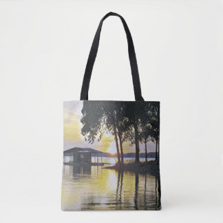 Beautiful Yellow Black Sunset Water Reflections Tote Bag