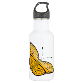 Beautiful yellow butterfly animation illustration 532 ml water bottle