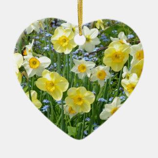 Beautiful yellow daffodil garden ceramic ornament