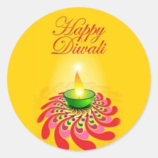 Beautiful Yellow Diwali Lamp Sticker