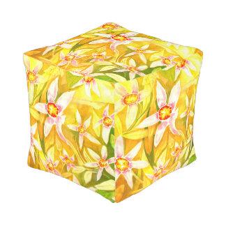 Beautiful Yellow Floral Watercolour Pouf