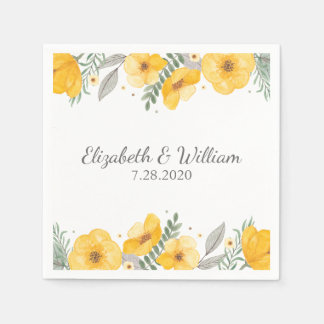 Beautiful Yellow Flower Elegant Romantic Wedding Disposable Napkins