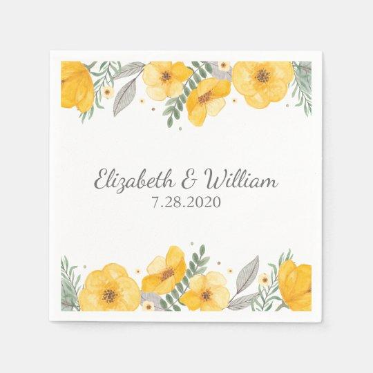 Beautiful Yellow Flower Elegant Romantic Wedding Disposable Napkins