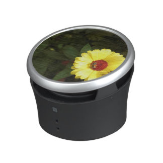 Beautiful yellow flower with small bee bluetooth speaker