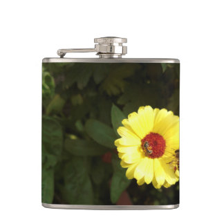 Beautiful yellow flower with small bee hip flask