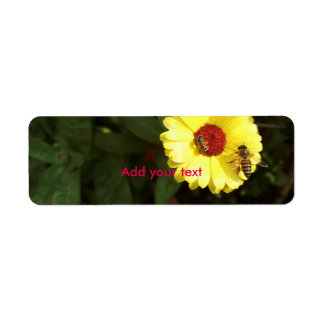 Beautiful yellow flower with small bee return address label