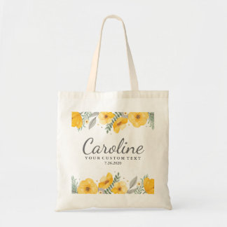 Beautiful Yellow Flowers Personalized Bridesmaid Tote Bag
