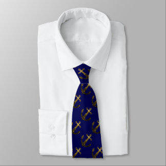 Beautiful Yellow Gold sparkles Anchor on Navy blue Tie