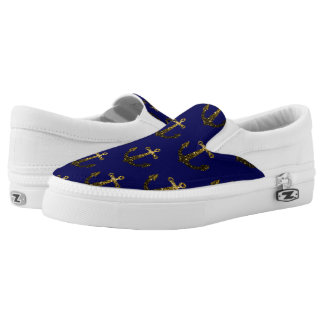 Beautiful Yellow Gold sparkles Anchor pattern blue Slip-On Sneakers