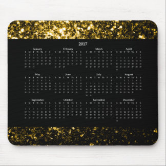 Beautiful Yellow Gold sparkles Black Calendar 2017 Mouse Pad