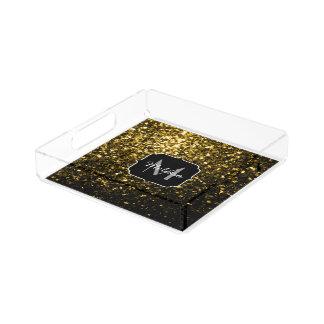 Beautiful Yellow Gold sparkles Monogram Acrylic Tray