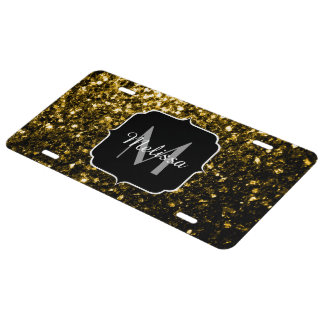 Beautiful Yellow Gold sparkles Monogram License Plate