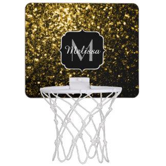 Beautiful Yellow Gold sparkles Monogram Mini Basketball Hoop