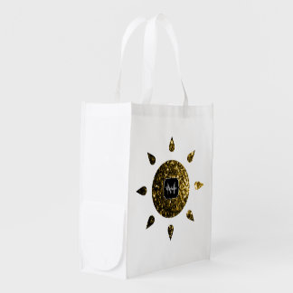 Beautiful Yellow Gold sparkles Sun Monogram Reusable Grocery Bag