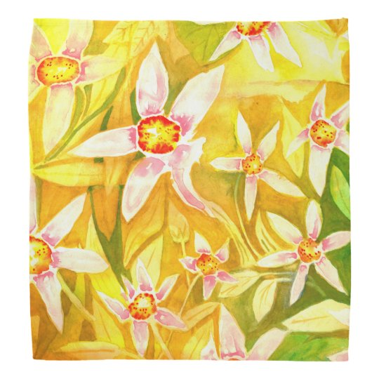 Beautiful Yellow & Green Floral Watercolor Bandana