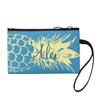 Beautiful Yellow Pineapple blue Customized clutch Coin Purses