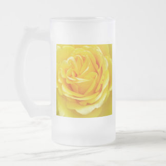 Beautiful Yellow Rose Closeup Frosted Glass Beer Mug