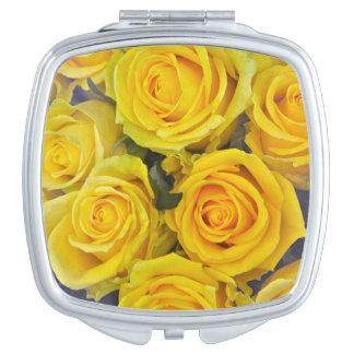 Beautiful yellow roses travel mirror