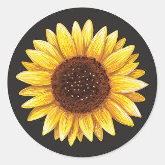 Beautiful yellow sunflower drawing stickers