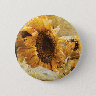 Beautiful Yellow Texture Giant Sunflower Photo Art 2 Inch Round Button