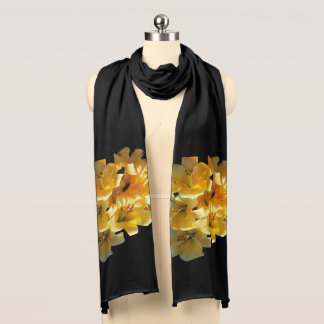 Beautiful Yellow Tiger Lily on a Black Scarf