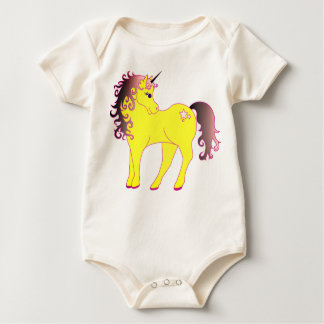 Beautiful Yellow Unicorn Baby Bodysuit