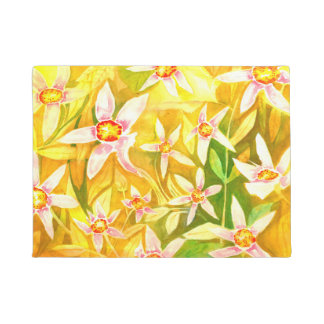 Beautiful Yellow Watercolour Floral Doormat