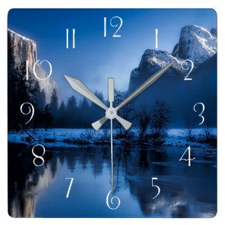 Beautiful yosemite national park landscape square wall clock