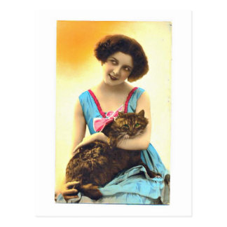 Beautiful Young Girl and Her Cat Postcard