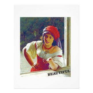 beautiful young woman letterhead design