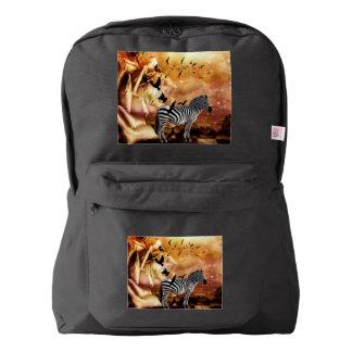 Beautiful zebra with birds backpack