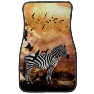 Beautiful zebra with birds car mat