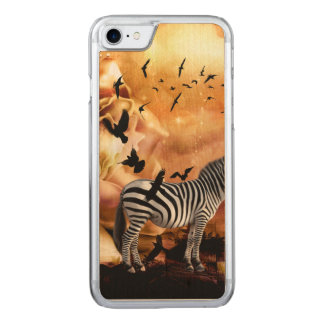 Beautiful zebra with birds carved iPhone 8/7 case
