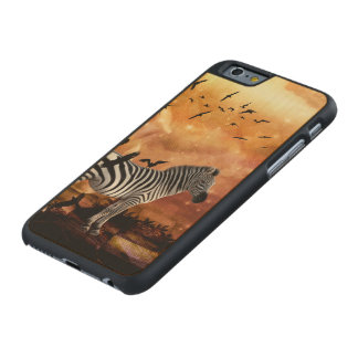 Beautiful zebra with birds carved® maple iPhone 6 slim case