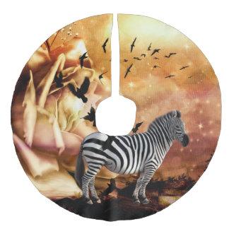 Beautiful zebra with birds faux linen tree skirt