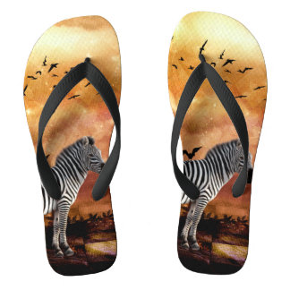 Beautiful zebra with birds flip flops