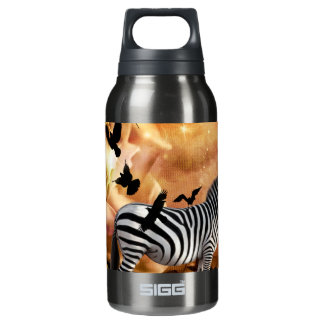Beautiful zebra with birds insulated water bottle