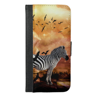Beautiful zebra with birds iPhone 6/6s plus wallet case