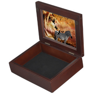 Beautiful zebra with birds keepsake box