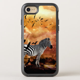 Beautiful zebra with birds OtterBox symmetry iPhone 8/7 case