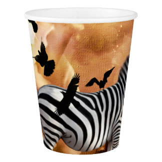 Beautiful zebra with birds paper cup