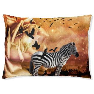 Beautiful zebra with birds pet bed
