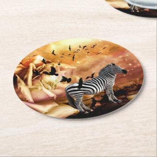 Beautiful zebra with birds round paper coaster