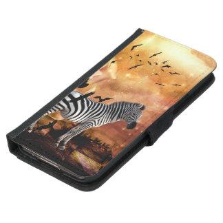 Beautiful zebra with birds samsung galaxy s5 wallet case