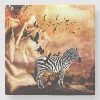Beautiful zebra with birds stone beverage coaster