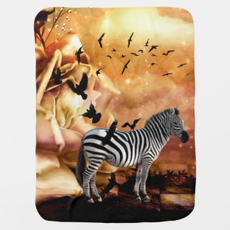 Beautiful zebra with birds stroller blanket