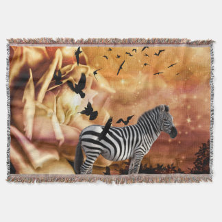 Beautiful zebra with birds throw blanket