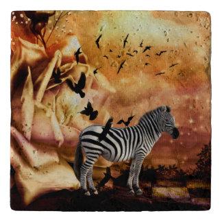 Beautiful zebra with birds trivet