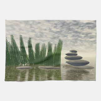 Beautiful zen landscape in the middle of aquatic kitchen towel