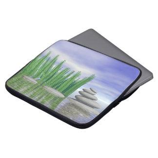 Beautiful zen landscape in the middle of aquatic laptop sleeve